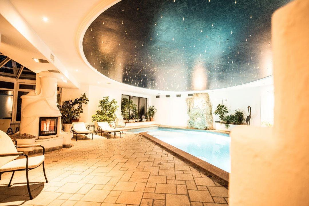 Stars over the indoor swimming pool, Hotel Genziana, South Tirol, Italy